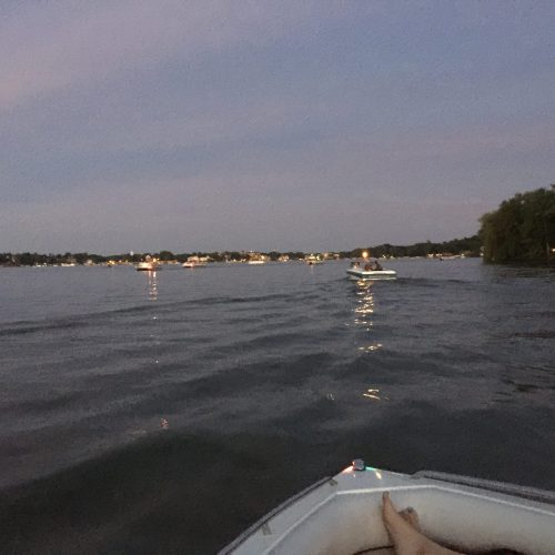 Boating before fireworks